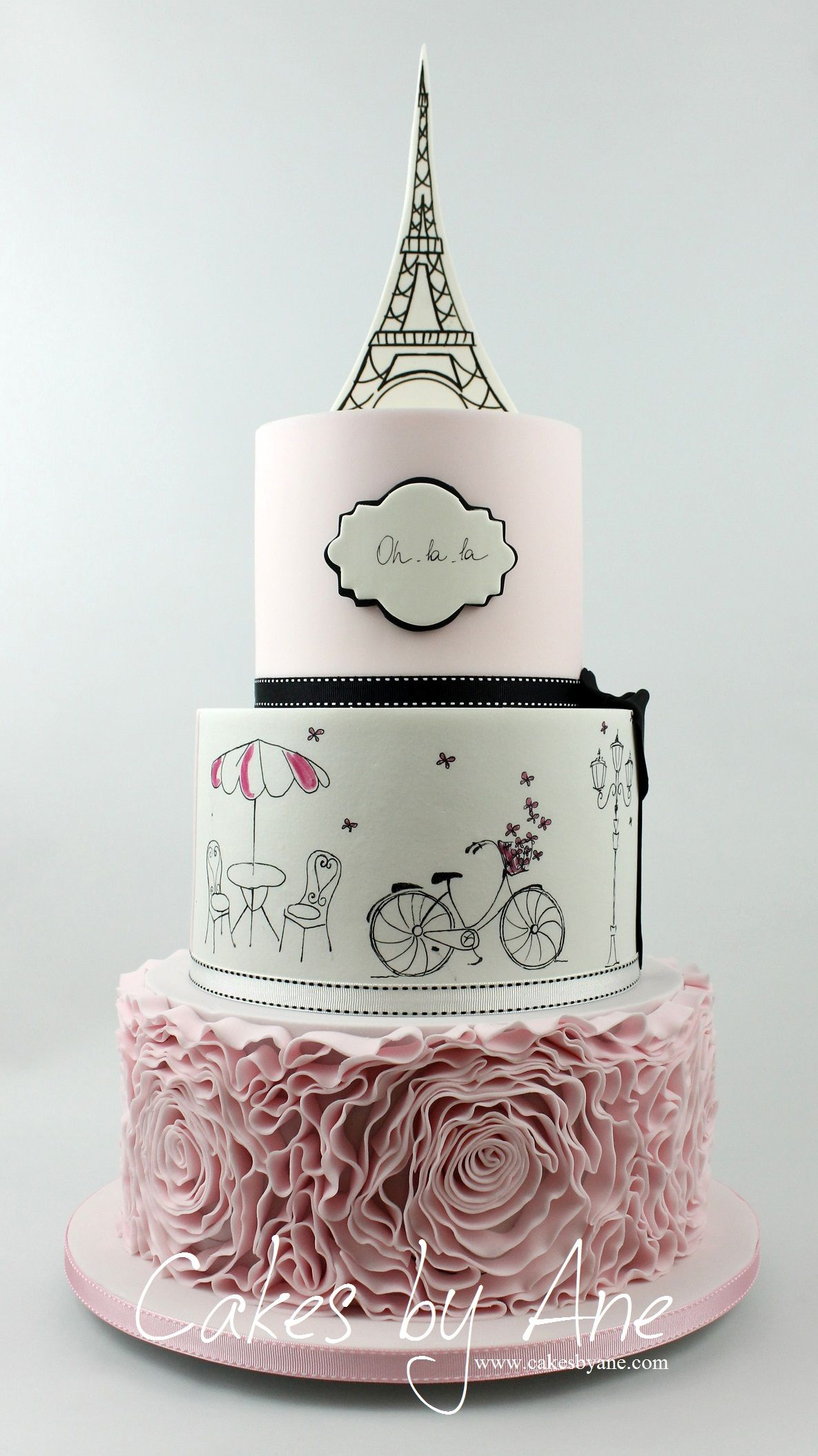This Painted Cake Is Set At A French Cafe Under The Eiffel TowerOh La LaParisje Taime