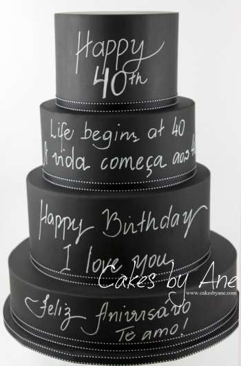 Chalkboard Hand Writing Cake